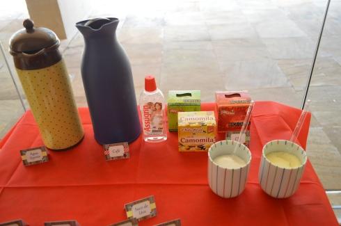 Café e água quente. Variedade de chás. Leite em pó e açúcar nos copinhos. Tem pra todos!